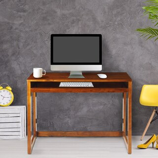 Modern Folding Desk with 4 USB Ports - Warm Brown