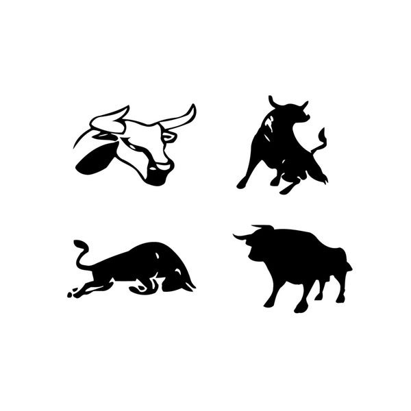 Set of Bulls Vinyl Wall Art
