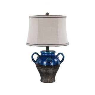 Somette Ceramic Blue Lamp with Coordinated Shade