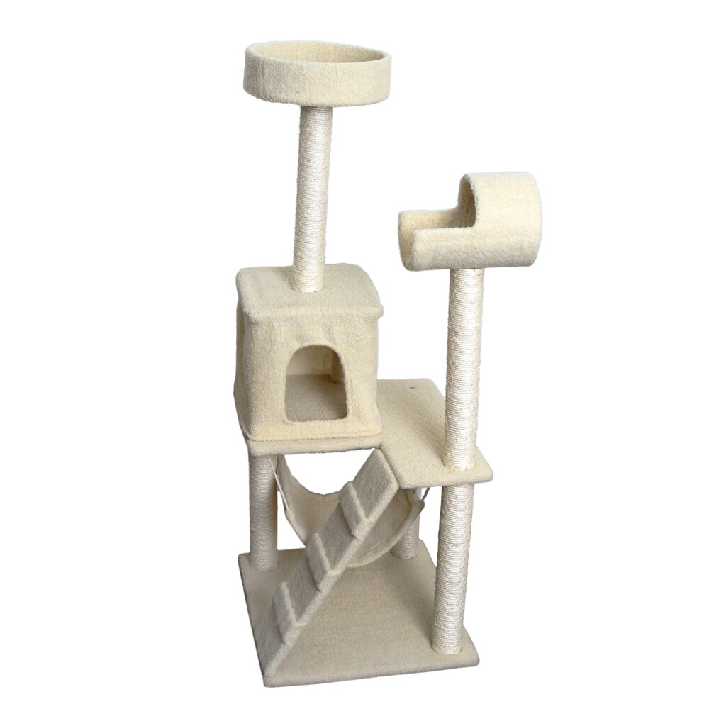 OxGord Cream 53-inch Cat Tree Tower Condo Scratching Furn...