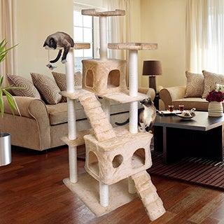 OxGord Beige Fleece/Wood/Sisal 72-inch Cat Tree Tower Condo Scratching Furniture