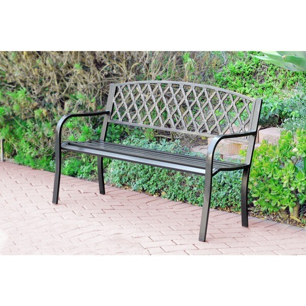 50-inch Crosswave Curved Back Steel Park Bench