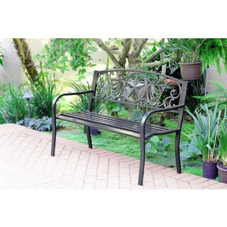 50-inch Star Curved Back Steel Park Bench