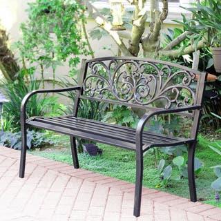 50 inch long scroll curved back steel park bench - Garden Furniture Metal