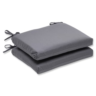 Pillow Perfect Squared Corners Seat Cushion with Charcoal Sunbrella Fabric (Set of 2)