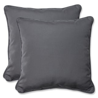 Pillow Perfect 18.5-inch Throw Pillow with Charcoal Sunbrella Fabric (Set of 2)