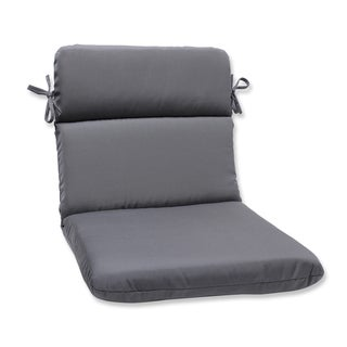 Pillow Perfect Rounded Corners Chair Cushion with Charcoal Sunbrella Fabric