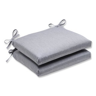 Pillow Perfect Squared Corners Seat Cushion with Grey Sunbrella Fabric (Set of 2)