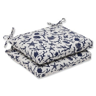 Pillow Perfect Squared Corners Seat Cushion with Bella-Dura Sanibel Navy Fabric (Set of 2)