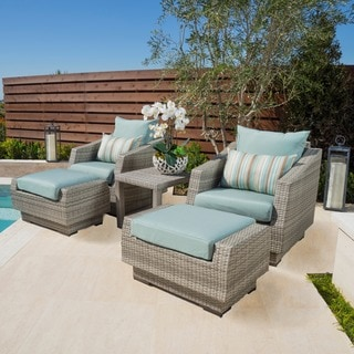 RST Brands Cannes 5-piece Club Chair, Ottomans and Side Table