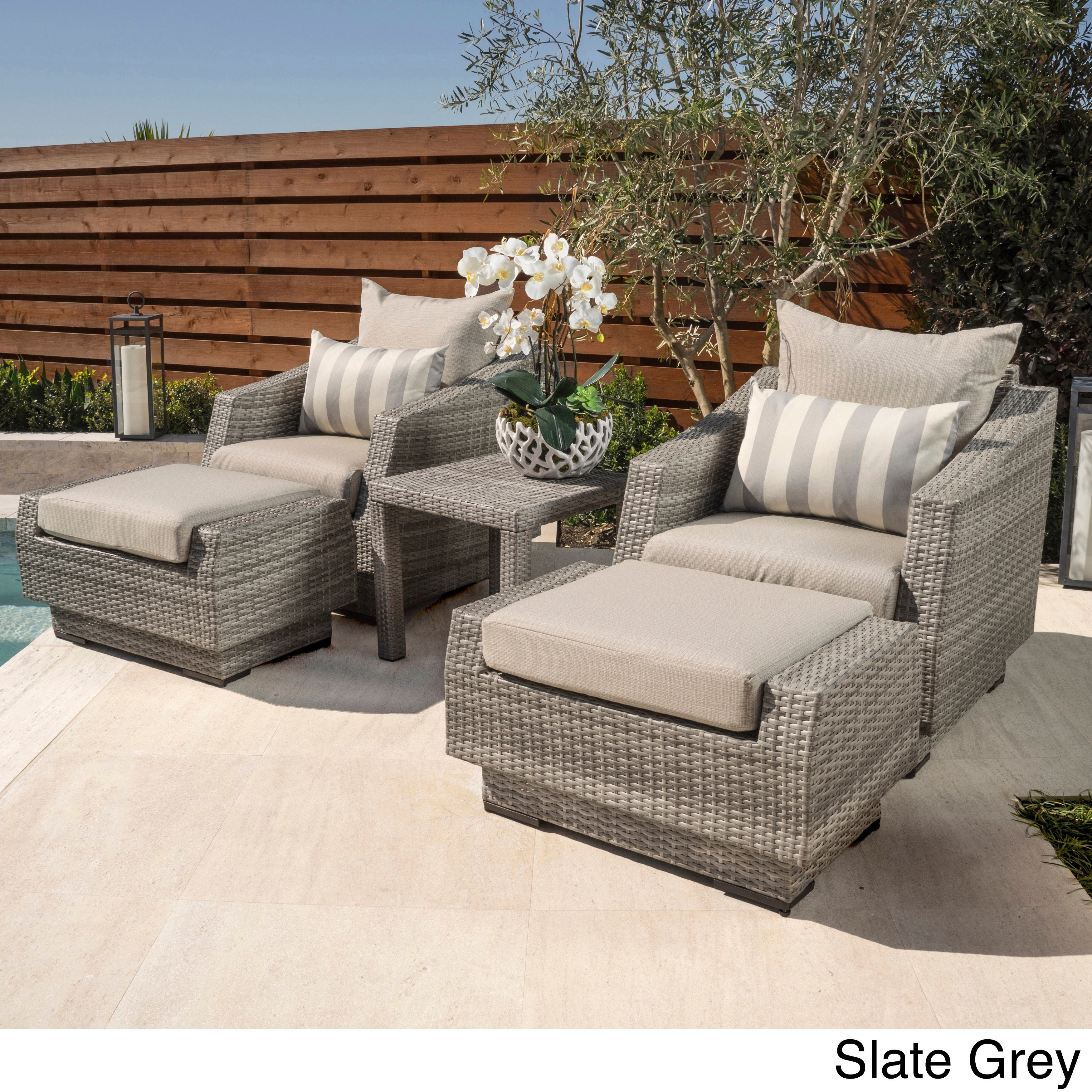 Terrific Rst Brands Cannes 5 Piece Club Chair Ottomans And Side Table Cjindustries Chair Design For Home Cjindustriesco