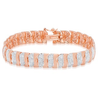 Finesque Sterling Silver 2 4/5 ct TDW Diamond Stripe Bracelet