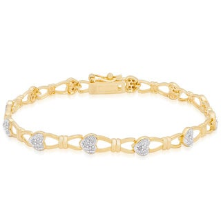 Finesque Gold Over Silver 1/2ct TDW Diamond Heart Link Bracelet (I-J, I2-I3)