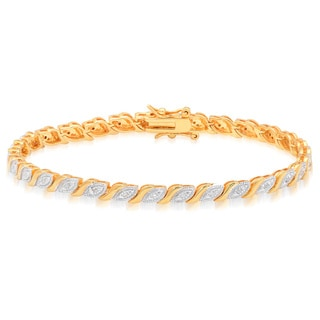 Finesque Gold Over Silver 1/4ct TDW Diamond Marquis Bracelet (I-J, I2-I3)