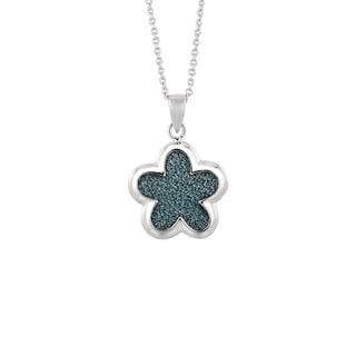 Silver Rhodium-plated Brass Blue Glitter Flower Pendant Necklace