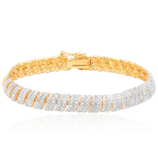 Finesque Gold Over Silver 2 1/2ct TDW Diamond Bracelet (I-J, I2-I3)