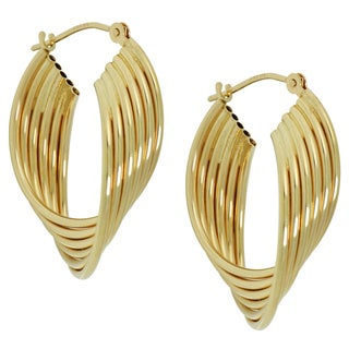 14k Yellow Gold Twisted Multi-tube Hoop Earrings