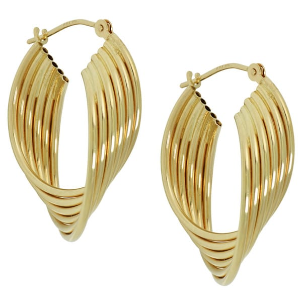 14k Yellow Gold Twisted Multi tube Hoop Earrings Free Shipping