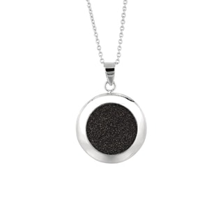 Silver Rhodium-plated Brass Black Glitter Circular Pendant Necklace