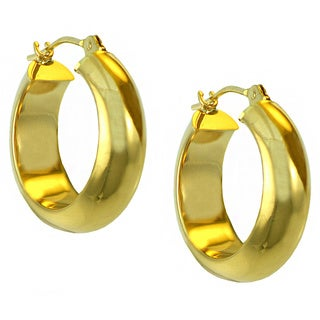 14k Yellow Gold Wide Clip-in Hoop Earrings