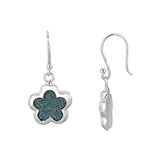 Silver Rhodium-plated Brass Blue Glitter Flower Dangle Earrings
