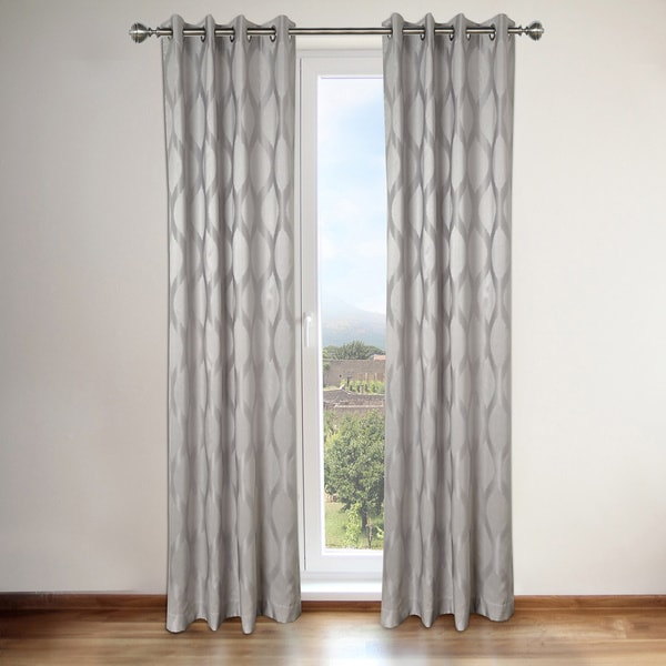 Annabelle Grey Faux Silk Grommet Top 84-inch Curtain Panel Pair ...
