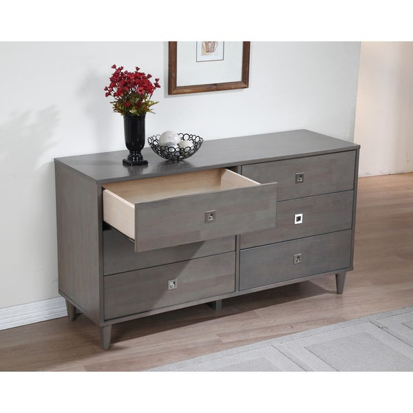 contemporary bedroom dresser 6 drawer storage chest charcoal gray furniture new 704335126823 ebay. Black Bedroom Furniture Sets. Home Design Ideas