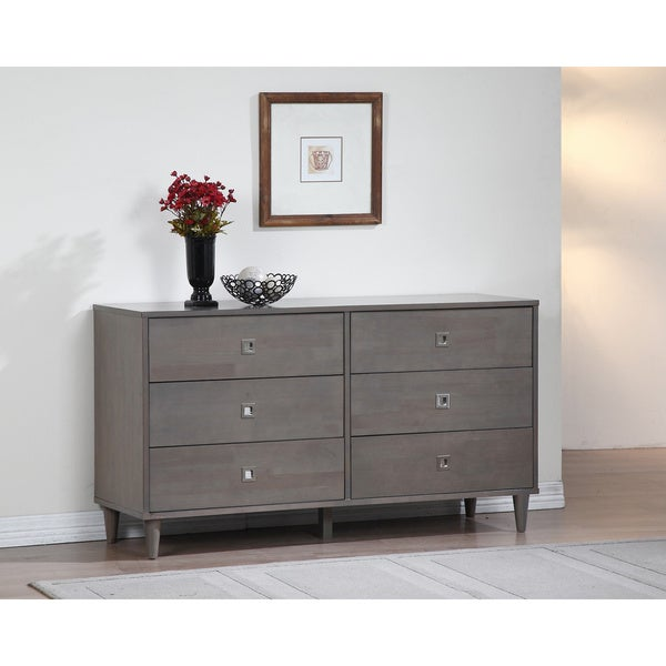 Marley Light Charcoal Grey 6 drawer Dresser Free