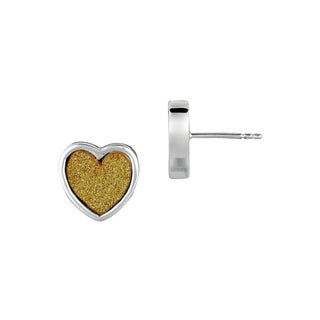 Silver Rhodium-plated Brass Gold Glitter Heart Stud Earrings