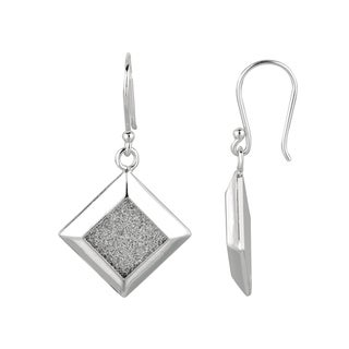Silver Rhodium-plated Brass Glitter Marquise Dangle Earrings