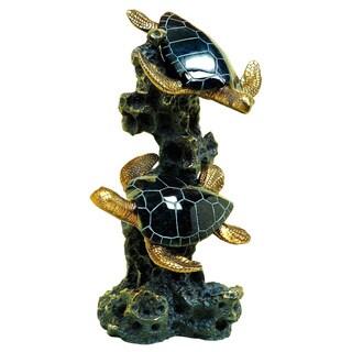 Black Polystone 12-Inch Sea Turtle