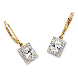 2.21 TCW Emerald Cut Cubic Zirconia Drop Earrings in 18k Gold Over Sterling Silver Classic
