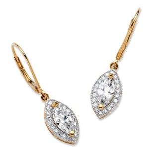 PalmBeach 2.12 TCW Marquise-Cut Cubic Zirconia Drop Earrings in 18k Gold over .925 Sterling Silver Classic CZ