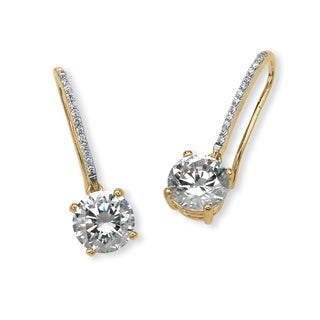 PalmBeach 4.13 TCW Round Cubic Zirconia Drop Earrings in 14k Gold over Sterling Silver Classic CZ