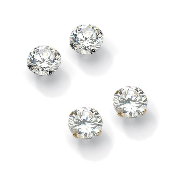 e7e676a06 6.00 TCW Round Cubic Zirconia 10k Gold Stud Earrings 2-Pairs Set Classic CZ