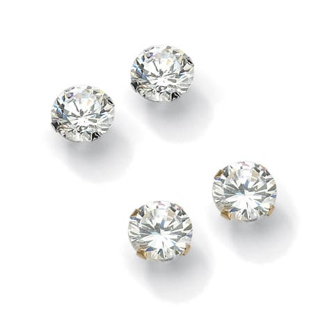 6.00 TCW Round Cubic Zirconia 10k Gold Stud Earrings 2-Pairs Set Classic CZ
