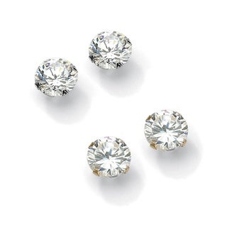 PalmBeach 6.00 TCW Round Cubic Zirconia 10k Gold Stud Earrings 2-Pairs Set Classic CZ