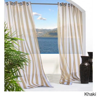 Escape Stripe Grommet Top Indoor/ Outdoor Curtain Panel Pair