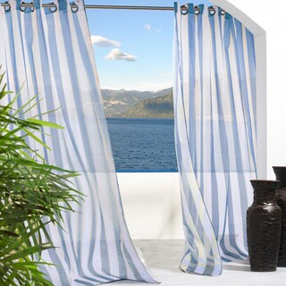 Escape Stripe Grommet Top Indoor/Outdoor Curtain Panel Pair