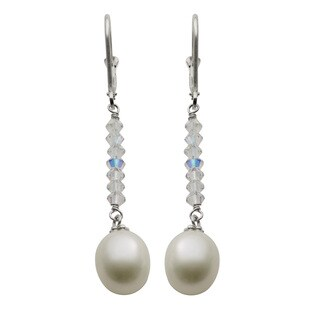 Pearls For You Sterling Silver White Freshwater Pearl and Crystal Dangle Earrings (9-9.5 mm)
