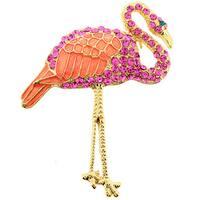 Pink Flamingo Cubic Zirconia Pin Brooch/ Pendant