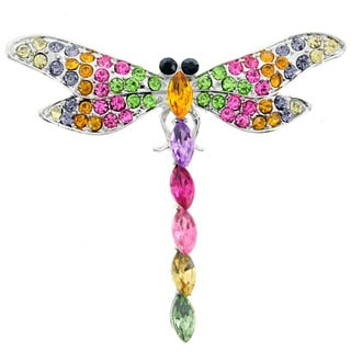 Multi-colored Cubic Zirconia Dragonfly Pin Brooch
