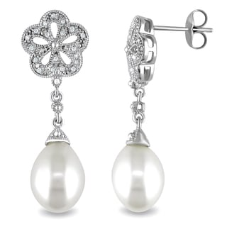 Miadora Sterling Silver Freshwater White Pearl and Diamond Accent Earrings (9.5-10 mm)