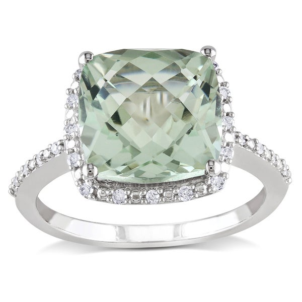 Miadora 10k White Gold Green Amethyst and 1 10ct TDW Diamond Ring