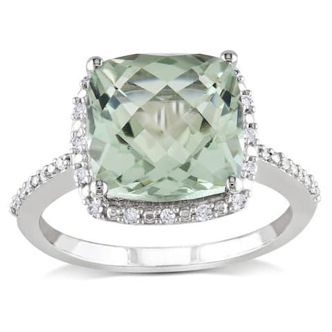Miadora 10k White Gold Green Amethyst and 1/10ct TDW Diamond Ring (H-I, I2-I3)