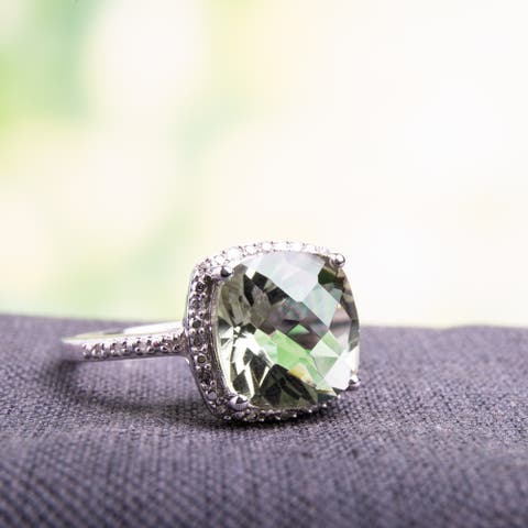 Miadora 10k White Gold Green Amethyst and 1/10ct TDW Diamond Ring (H-I, I2-I3)