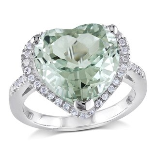 Miadora Sterling Silver Green 4 4/5ct TGW Amethyst and White Topaz Heart Ring
