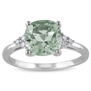 Miadora 10k White Gold 2ct TGW Green Amethyst and Diamond Accent Ring
