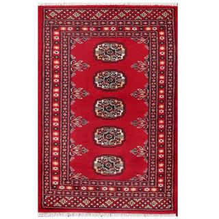 Herat Oriental Pakistani Hand-knotted Tribal Bokhara Red/ Black Wool Rug (2' x 2'11)