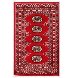 Herat Oriental Pakistani Hand-knotted Tribal Bokhara Red/ Black Wool Rug (1'11 x 3'2)